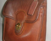 Vintage COACH Murphy Bag, Cowhide Leather Purse From 1989 -  Gorgeous Aged Leather, Antique Brass Hardware, Made In US