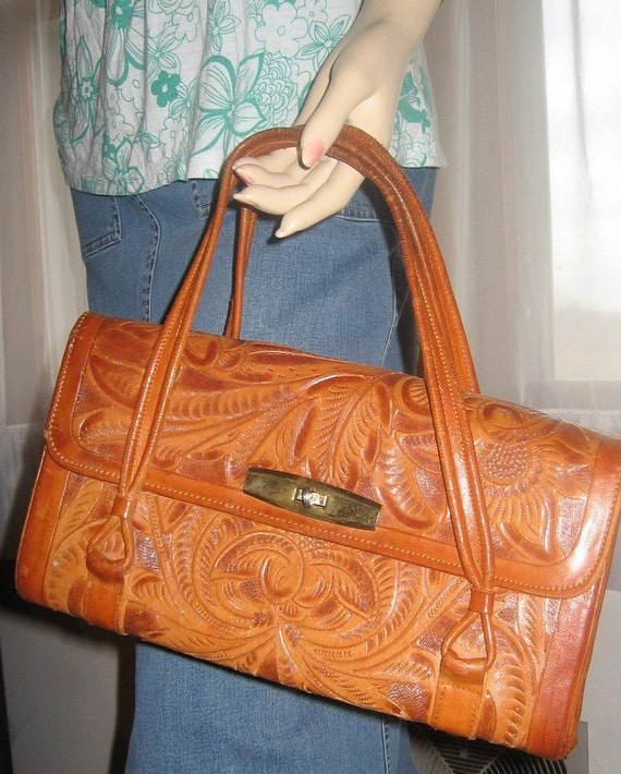 Vintage Avalar Western Hand-Tooled British Tan Beige Satchel Purse - Made In Mexico