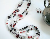 Red Heart Glass Bead long necklace or multistrand bracelet