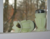 Fenton glass satin green salt and pepper