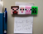 SALE --- Minecraft Magnet -  4 in 1 - Steve, Sheep, Pig and Creeper