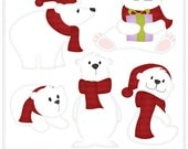 Polar Bear (Red)  - Digital Clip Art , Commercial Use Clipart, Scrapbook, Printable - Instant Download