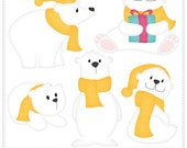 Polar Bear (Yellow) - Digital Clip Art , Commercial Use Clipart, Scrapbook, Printable - Instant Download