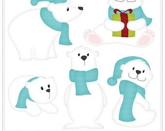 Polar Bear (Blue) - Digital Clip Art , Commercial Use Clipart, Scrapbook, Printable - Instant Download