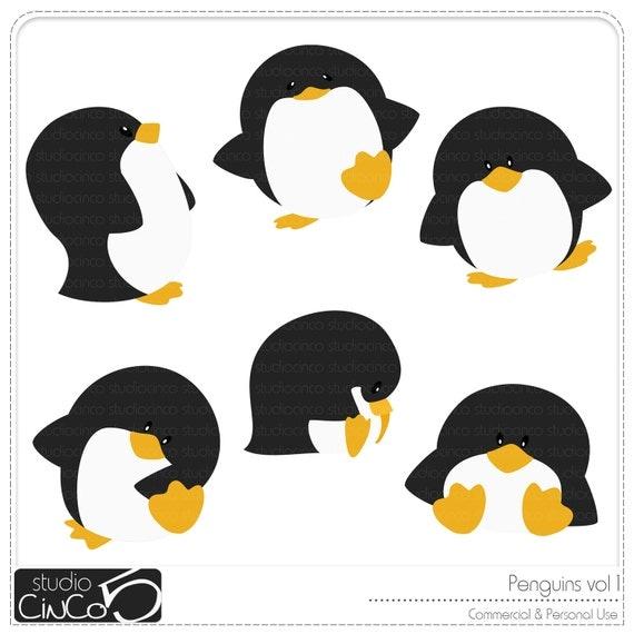 Penguins Digital Clip art vol 1 -  - Digital Clip Art , Commercial Use Clipart, Scrapbook, Printable - Instant Download