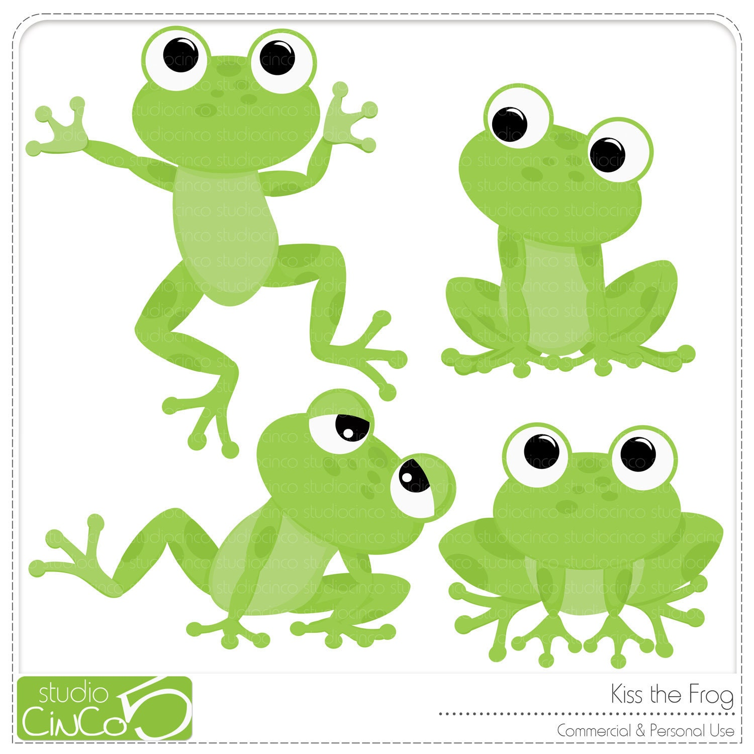 Kiss the Frog Digital Clip Art Commercial Use Clipart