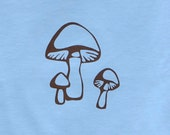 Little Blue and Brown Mushroom T-shirt for Toddlers and Children