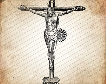 Mexican Folk Woodcut of Sacred Heart Christ on the Cross, Vintage Crucifix, Digital Download No.49