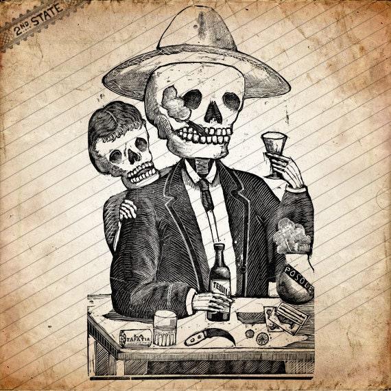 Day of the Dead, Cavaleras, Old Smoking Drinking Wood Cut Skeleton, Día de los Muertos, Digital Download No.32