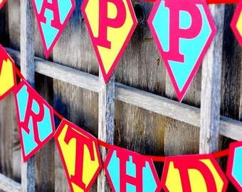 Stupendous Superhero Party Happy Birthday Banner - WITH NAMES ADDED