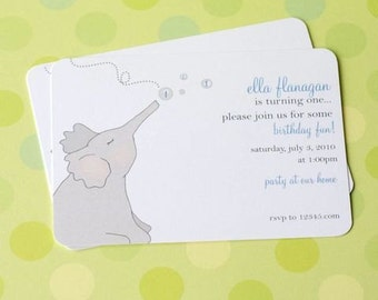Bubble Blowing Elephant Invitations