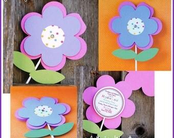 Garden Flower Party Invitations - set of 24