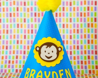 Custom Mod Monkey Inspired Party Hat - personalized with your child's name