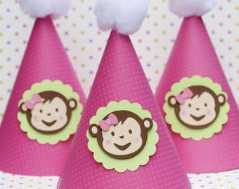 Girly Mod Monkey Inspired Party Hats - set of 6