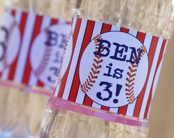 Baseball Water Bottle Labels - Personalized - REGULAR bottle size