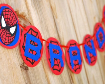 Spiderman Inspired Happy Birthday Banner -Personalized