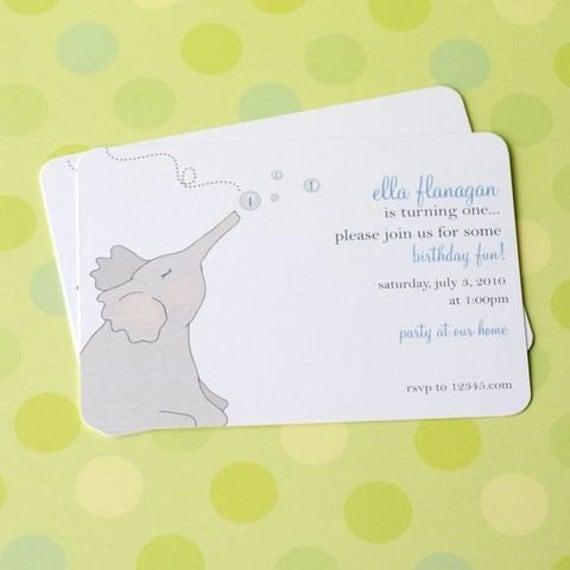 Bubble Blowing Elephant Invitations