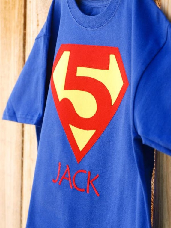 Customized Superhero Personalized T-Shirt with choice of number and Child's Name Embroidered