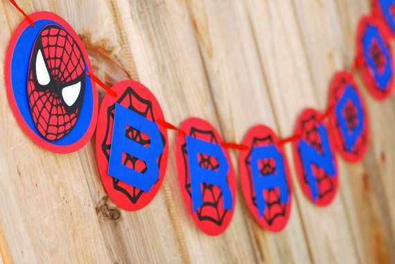 Customized Spiderman Inspired Name Banner with your child's name