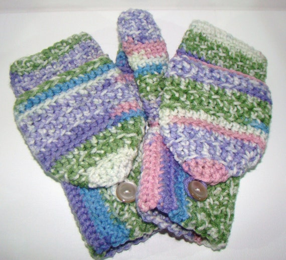Convertible Fingerless Mittens in Sugarplum Stripe Pastel Variegated Crochet