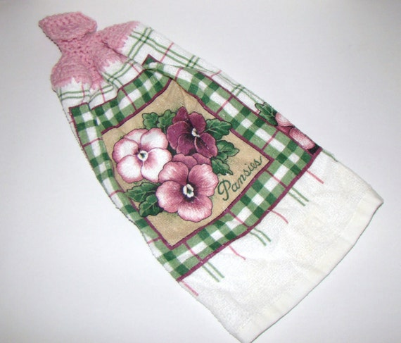 Crochet Hanging Kitchen Towel Pink Panzies
