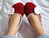 Cozy Ruby Red and White Crocheted Women's Slippers- house shoes