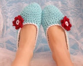 Aqua, Red and White Womens Crocheted Slipper