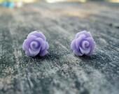 Lavender Rose Stud Earrings