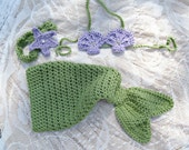 Crochet Mermaid Inspired Baby Girl Outfit --Great Photography Prop --Customizable Colors