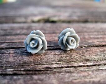 Gray Rose Stud Earrings