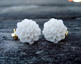 White Dahlia Clip on Earrings --regular stud option