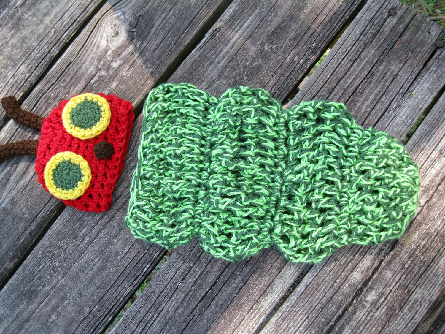 Crochet Caterpillar Baby Outfit Pattern : Caterpillar Crocheted Baby Outfit Great Photography Prop