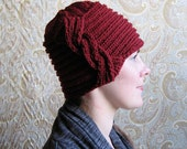 Red Wool Knit Hat with Side Braid Detail