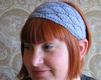 Blue Lavender Lace Knit Headband