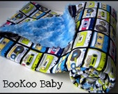 Music Tapes Baby BLANKET with Blue Minky Swirl...Punk Rock Baby