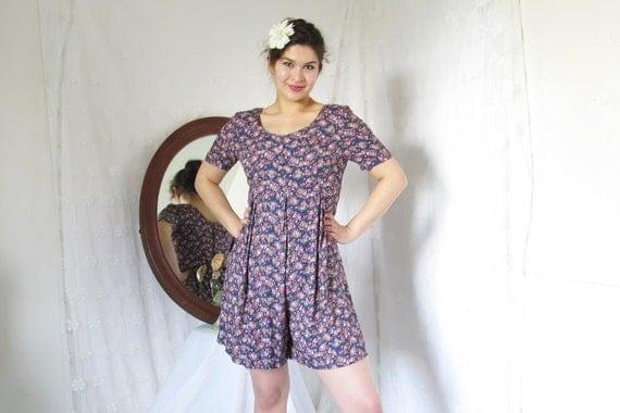 Reserved //1990's Vintage purple floral mini length Jumper Romper dress
