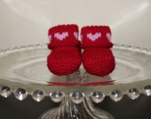 Valentine Booties - Red with pink hearts - hand knitted