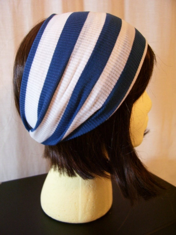RESERVED for Stephanie - Knit Headband - Royal Stripe