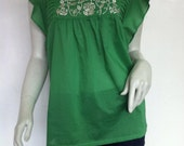 Embroidered Babydoll, Boho Blouse Top, Green Cotton Voile, Casual, Tropical Holiday Resort, Summer