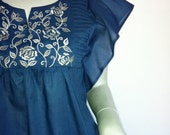 Embroidered Babydoll Blouse Top, Boho Casual, Blue Cotton Voile, Tropical Holiday Resort, Summer