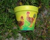 ROOSTER CLAY POT / Patio Decor Clay Pot / Garden Pot / Poultry Pot / Animals Vase / Hand Painted Pot