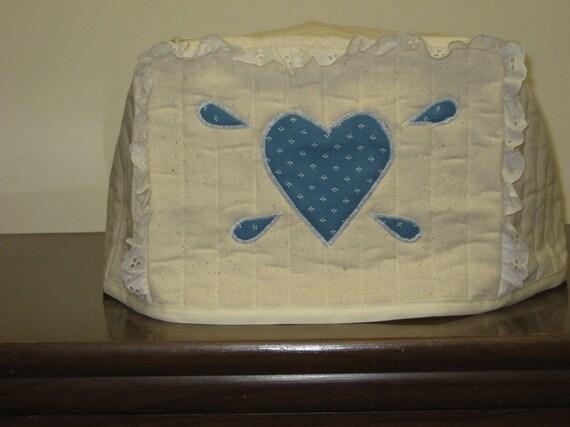 2 slice toaster cover country blue heart design. Black Bedroom Furniture Sets. Home Design Ideas