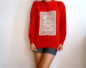 JOAN French VIntage Red Wool Blouse with Hand crochet Doily