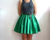MARIE French Vintage Green CottonMini  Full Skirt