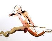SALE coquette: male figure original watercolour painting