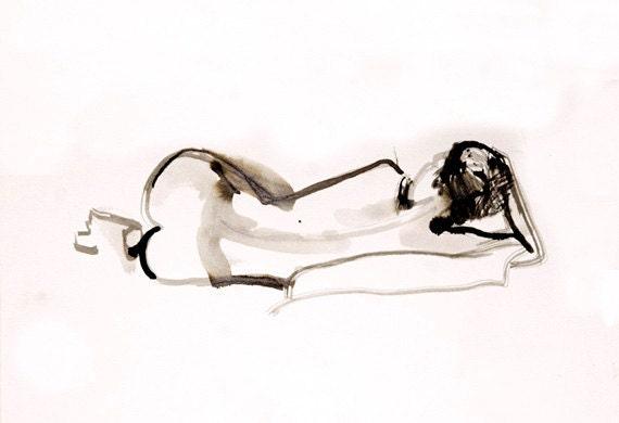 SALE dreaming female figure original ink painting