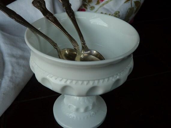 Vintage Milk Glass King's Crown Thumbprint  Wedding Bowl/Compote