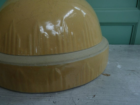 Large Vintage Rustic Yellow Clay Pottery Mixing Bowl