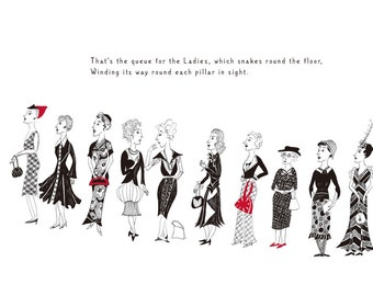 Queue for the Ladies - lithographic print