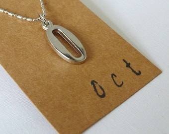 October - Letter Necklace Silver